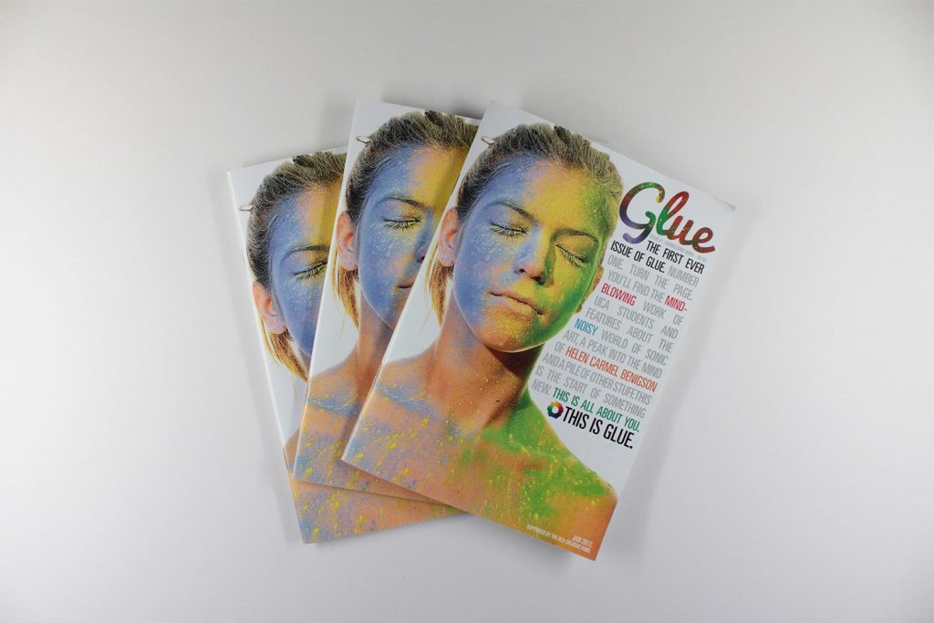 Colourful photographic glue front cover showing someones face