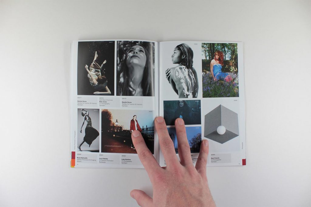 UCA magazine grid layout with photography projects which are both colourful and monotone