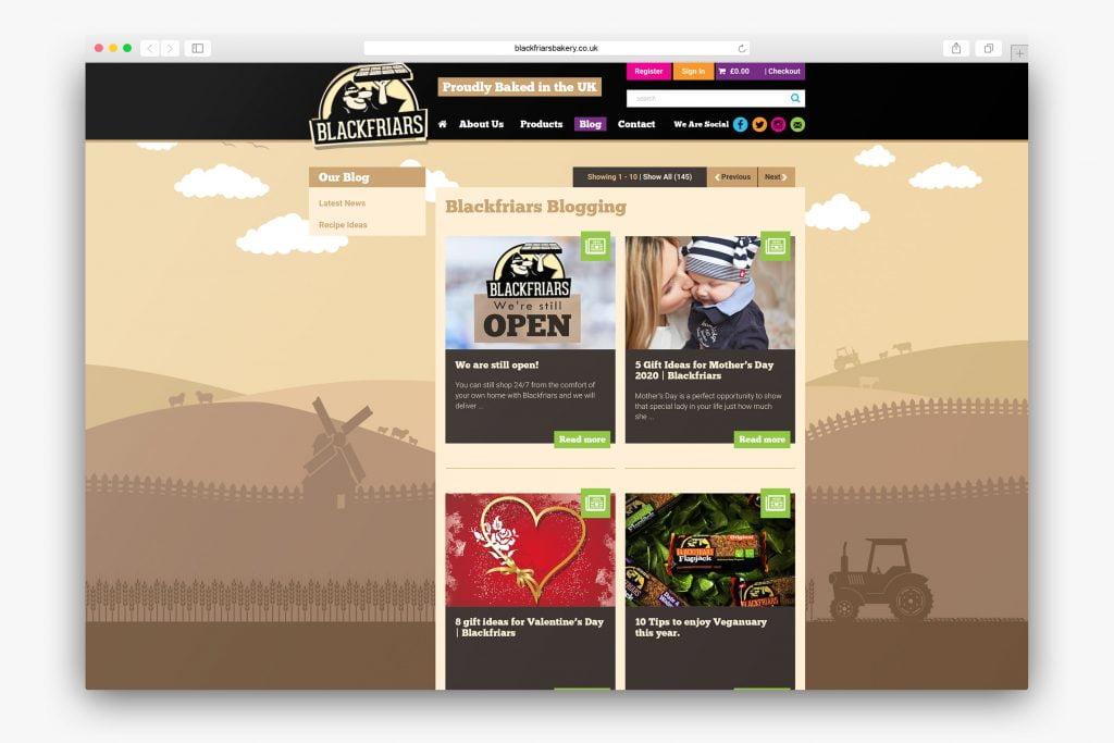 Blog top level showing all website posts