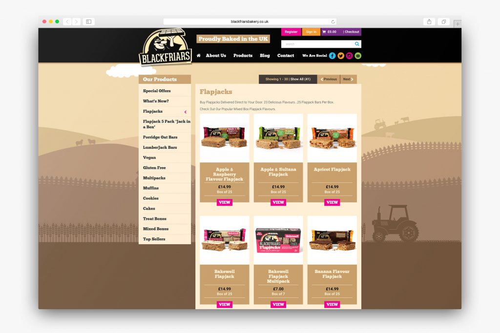 Product top level page showing Flapjack range